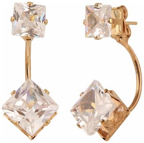 Efulgenz Trendy Gold Plated Daily Wear Golden Double Studs Earrings for Girls and Women