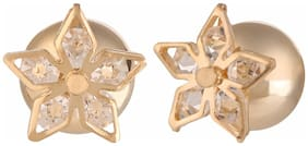 Efulgenz Trendy Gold Plated Fancy Party Wear Double Stud Earrings for Girls and Women