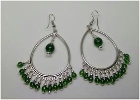 Elegant Black Metal Oxidised Silver Hoop  Earrings with green beads