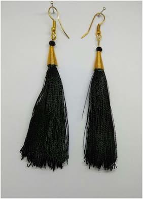 Elegant  Black silk thread tassel earrings