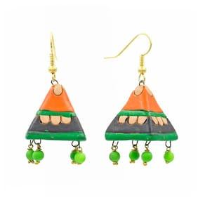Three Shaded Fashion Handmade Painted Terracotta Jhumki Earrings for Girls & Women