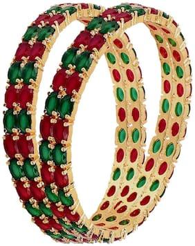 Embroco Gold Plated rubi Stylish Partywear Bangle For women (2 bangle)