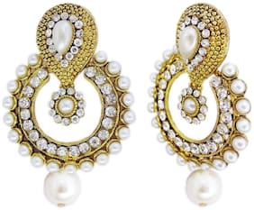Embroco Pearl White Earrings for Girls and Women