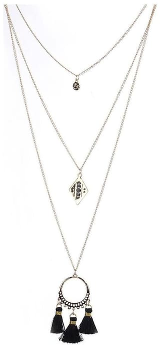 Enso Tasselled Chain - Black and Silver