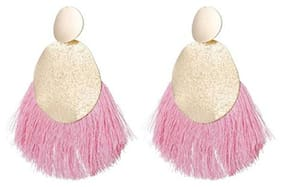 Enso Tassel Dangle Earrings - Pink and Gold