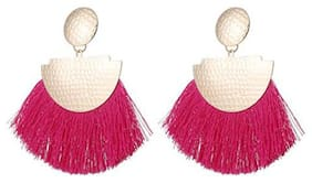Enso Tassel Dangle Earrings - Pink