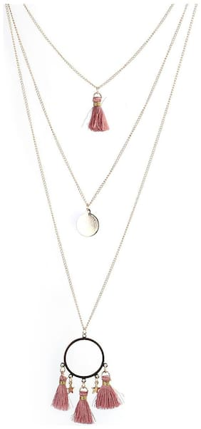 Enso Tasselled Pendants with Chain - Pink
