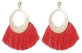 Enso Tassel Dangle Earrings - Red