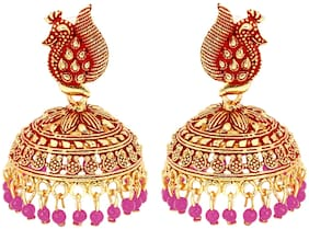 Eris Inc Beautiful Gold Plated small pink beeds Earrings for Girls & Women