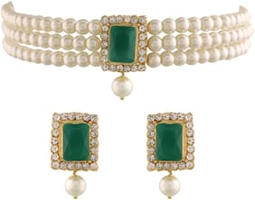 Etnico 18K Gold Plated Traditional Handcrafted Beaded Emerald Choker With Earrings For Women (ML237G)