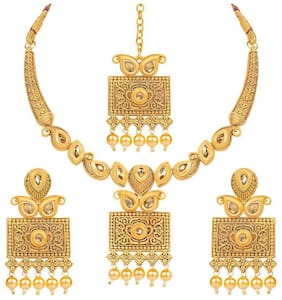 Etnico Gold Alloy Party Wear Antique Necklace