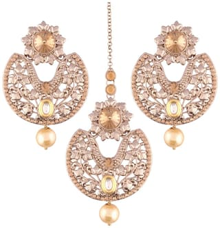 Etnico Brown Gold Plated Earring Set with Maang Tikka for Women
