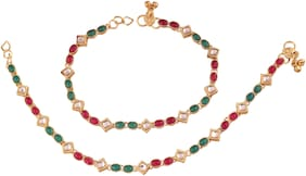 Etnico Gold Plated Traditional Kundan Anklets For Women