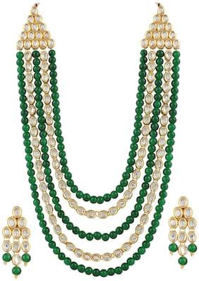 Etnico Gold Plated Kundan & Beads Multi-Strand Necklace Set with Earrings For Women