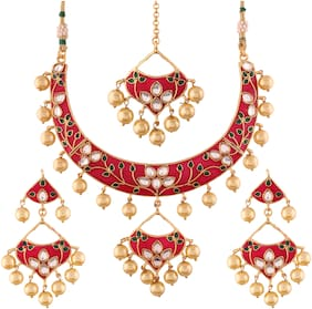 Etnico Gold Plated Kundan Meenakari Necklace Jewellery Set For Women