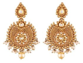 Etnico Gold Plated Chandbali Earrings for Women