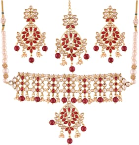 Etnico Gold Plated Traditional Kundan Necklace Set with Earrings & Maang Tikka For Women