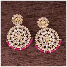 Etnico Gold Plated Kundan Chandbali Earrings for Women