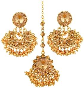 Etnico Gold Plated Designer Maang Tikka With Earring Set
