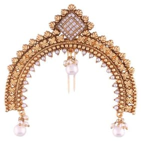 Etnico Gold Plated Pearl Hair Pin for Women