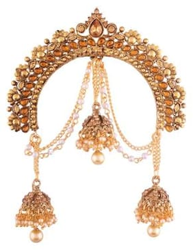 Etnico Gold Plated Jhumki Hair Pin with Chain for Women