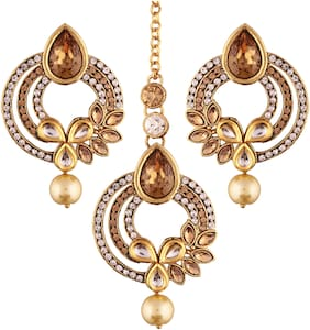Etnico Gold Plated Traditional Earrings & Maang Tikka For Women