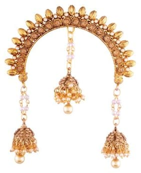 Etnico Gold Plated Ethnic Jhumki Hair Pin for Women