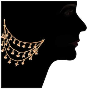 Etnico Gold Plated Pearl Hair Chain Accessories for Earrings for Women