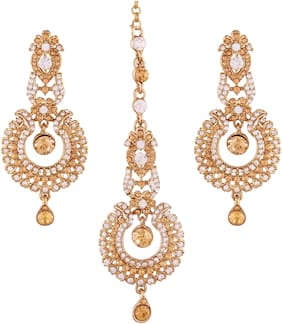 Etnico Gold Plated Earring Set with Maang Tikka for Women