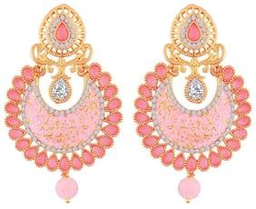 Etnico Gold Plated Meena Work Kundan Dangle  Earrings for Women