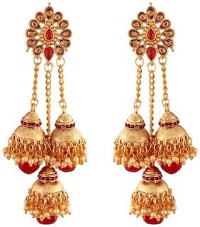 Etnico Ethnic Gold Plated Pearl Jhumki Earrings for Women