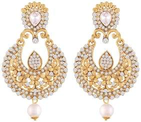 Etnico Gold Plated Traditional Chandbali Earrings For Women E2341LW (White)...