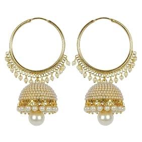 Etnico Gold Plated Chandbali Pearl Jhumki Earrings For Women E2549w