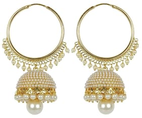 Etnico Gold Plated Chandbali Pearl Jhumki Earrings for Women E2549W...