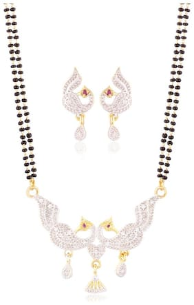 Etnico Gold Plated Peacock shaped American Diamond Mangalsutra Pendant with Chain & Earrings for Women D044
