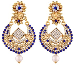 Etnico Gold Plated Traditional Earrings For Women E2342Bl (Blue)...