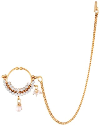 Buy Etnico Gold Plated Bridal Nose Ring With Chain For Women Nl08