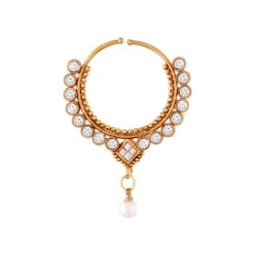 Etnico Gold Plated Bridal Nose Ring with Chain For Women NL02