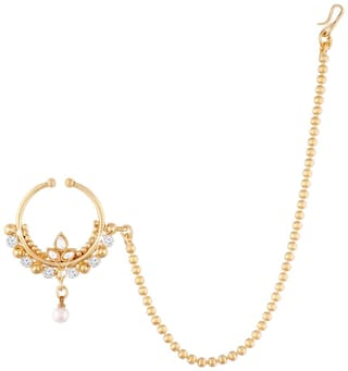 Buy Etnico Gold Plated Bridal Nose Ring With Chain For Women Nl06