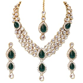 Etnico Green Gold-Plated Necklace Set For Women