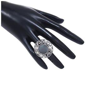 Etnico Indian Traditional Antique Boho Vintage Oxidised Adjustable Mirror Ring