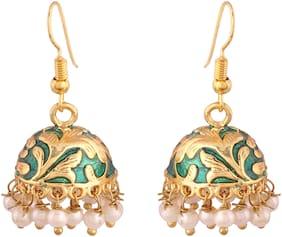 Etnico Jaipur Collection Rajasthani Jhumka Jhumki Earrings with Meenakari work for Women