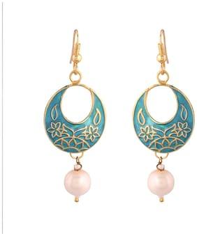 Etnico Jaipur Collection Rajasthani Earrings with Meenakari work for Women E2545Bl