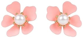 Etnico Lovely Fancy Pink Flower design Pearl Stud Earrings For Women