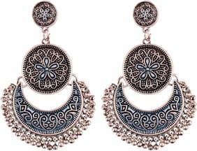 Etnico Oxidized Silver Fusion Moonshape Chandbali Earring for Women (eE2554SBL)