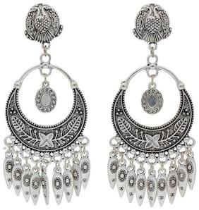 Etnico Oxidized Silver Chandbali Earrings for Women (ES05)