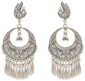 Etnico Oxidized Silver Peacock Chandbali Earrings for Women
