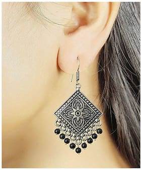 Etnico Oxidized Silver Plated Dangle & Drop Earrings for Women