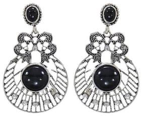 Etnico Oxidized Silver Chandbali Earrings for Women