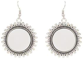 Etnico Oxidized Silver Miror Work Chandbali Earrings for Women